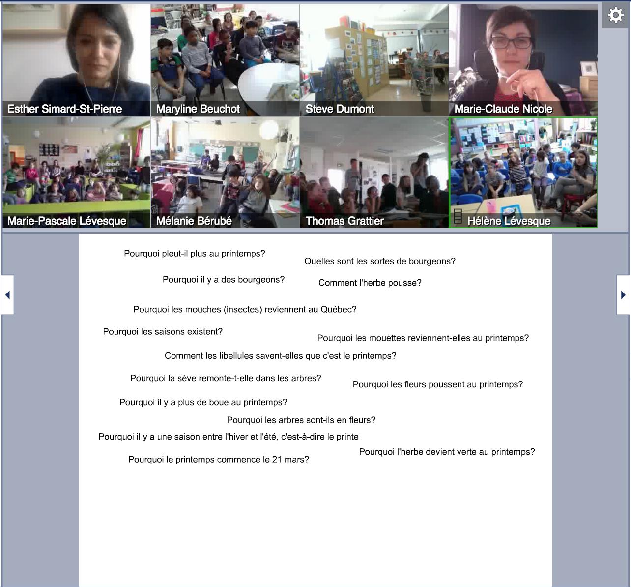 Science en réseau, Le printemps, mise en commun des questions authentiques des élèves